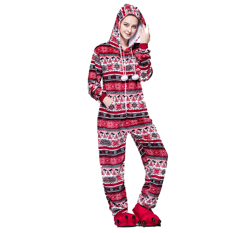 Women Snow Print Pajamas Kigurumi Flannel Winter Pyjama Cartoon Anime Red Bird Hooded Pijama Sleepwear Onesies For Adults