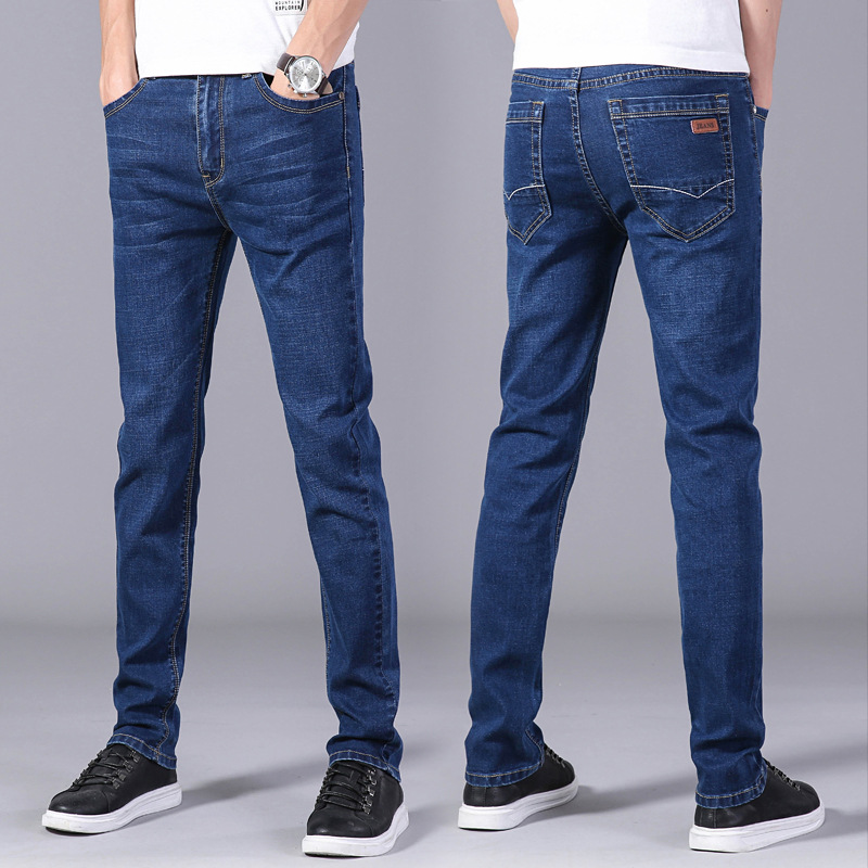 Spring Jeans Men's Slim Fit Elasticity Korean-style Straight-Cut MEN'S Pants Business Casual Pants Men'S Wear Trend Trousers