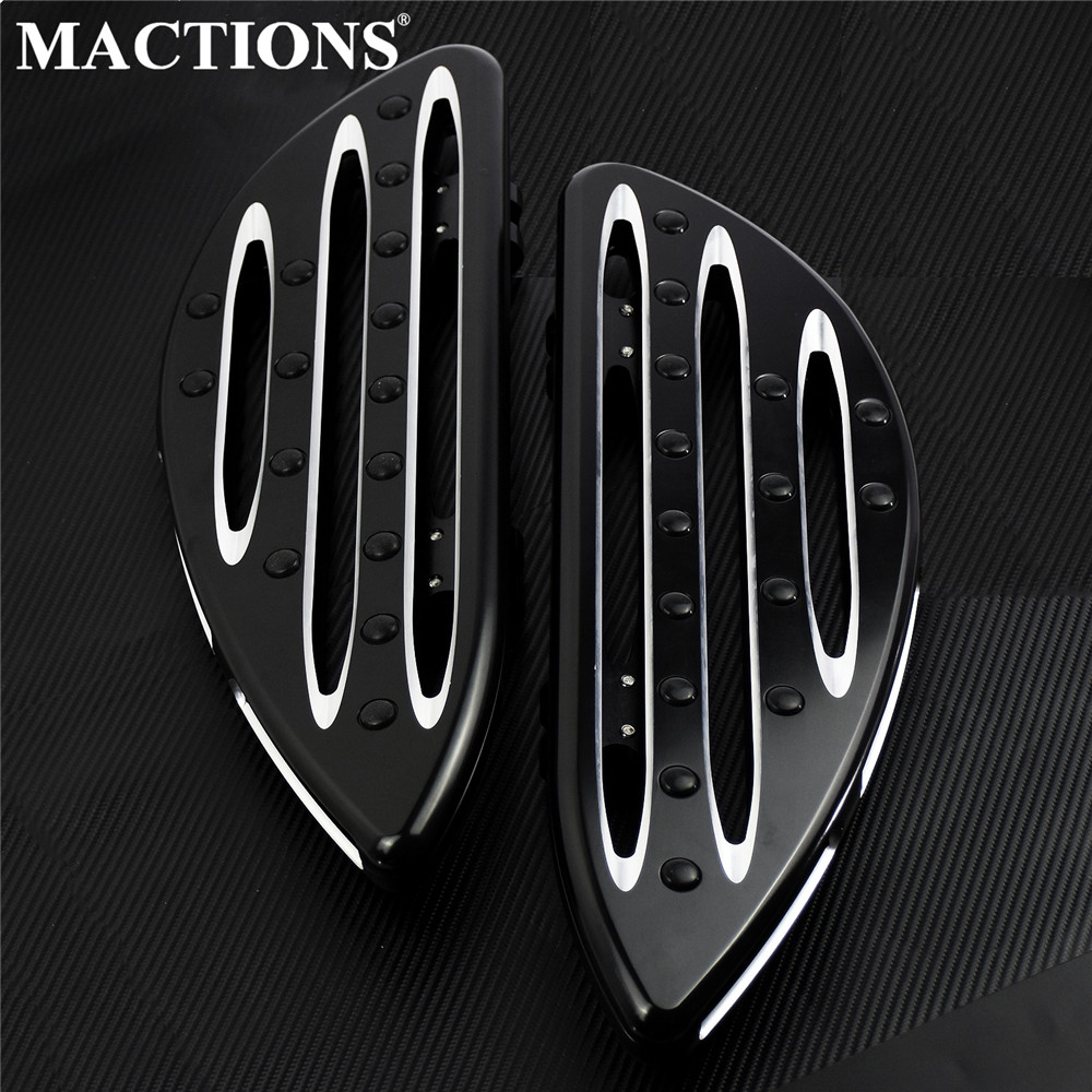 Motorcycle Front Stretched Driver Floorboards Black Pedal For Harley Touring Road Glide Electra Glide Street Glide Softail Dyna