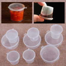 100pcs Disposable Plastic Takeaway Sauce Cup Containers Food Box with Hinged Lids Pigment Paint Box Palette Reusable
