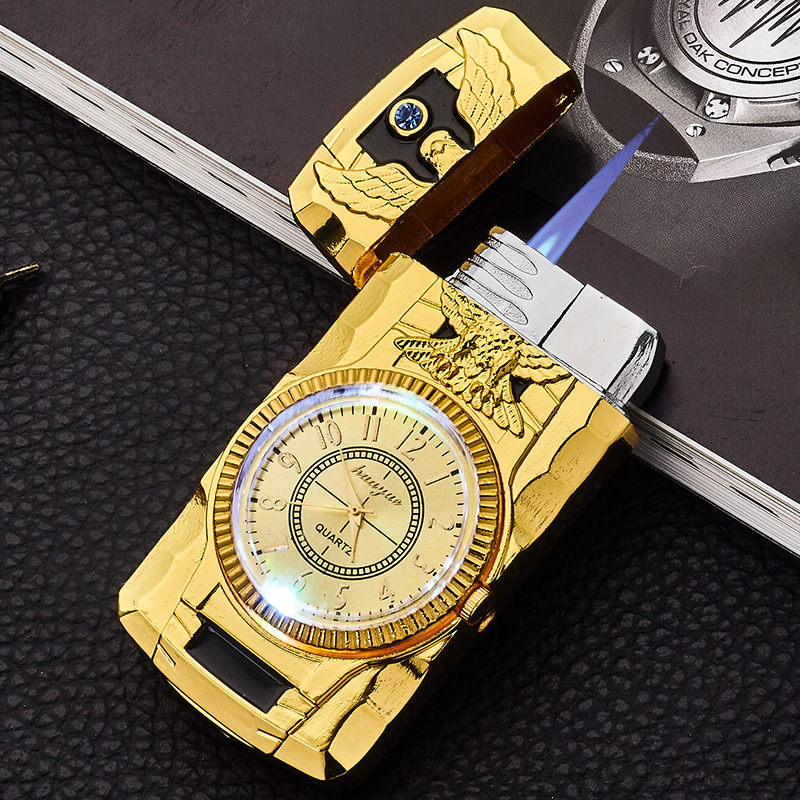 Flash Watch Metal Gas Lighter Cigar Cigarettes Lighter Torch Electronic Lighters Smoking Accessories Gadgets For Men