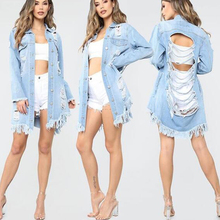 Jaqueta Jeans Feminina Rasgadinha Plus Size