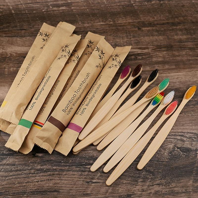 10 pièces brosse à dents écologique bambou brosses à dents réutilisables Portable adulte en bois brosse à dents souple pour usage hôtelier de voyage à domicile