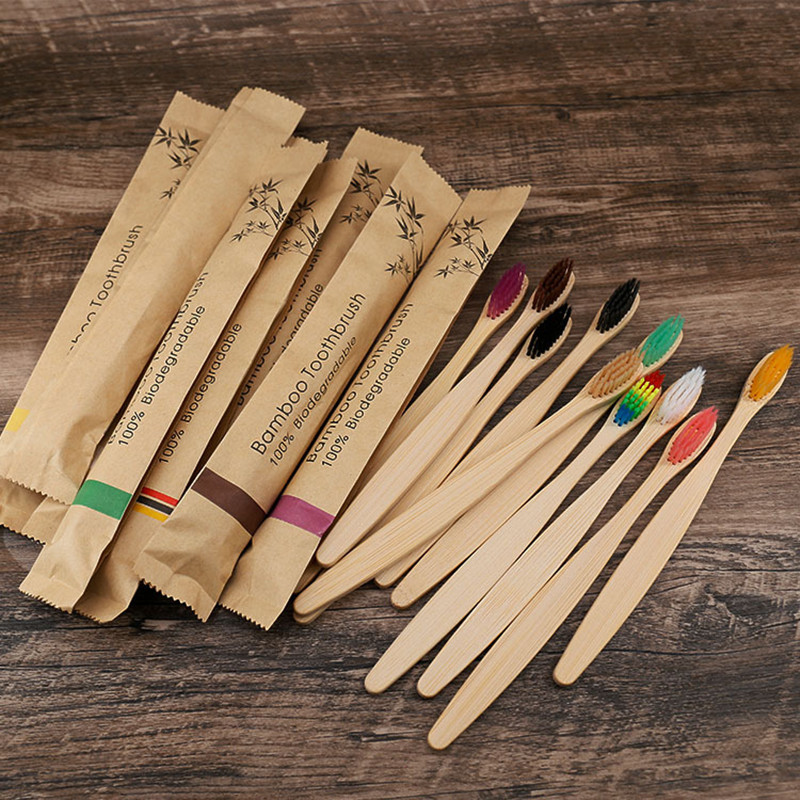 5/10 pces eco amigável escova de dentes de bambu resuable escovas de dentes portátil adulto de madeira macia escova de dentes para uso doméstico do hotel do curso