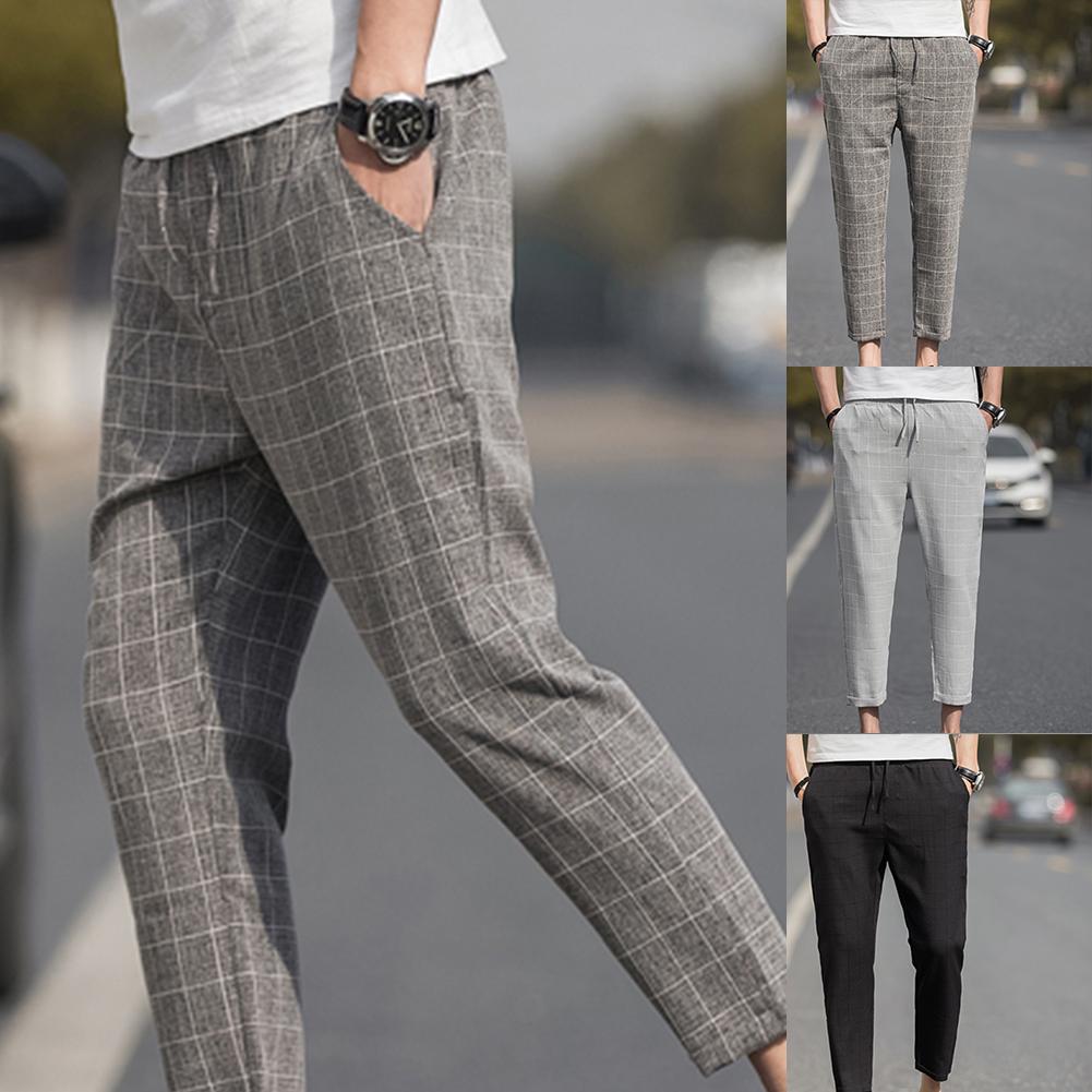 Plus Size Men Plaid Drawstring Pockets Elastic Waist Pencil Trousers Ninth Pants Brand Casual Harem Pants Men Trousers Clothes