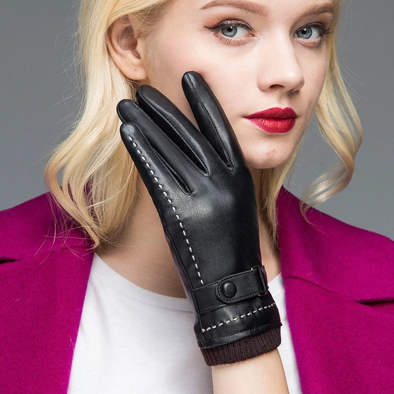 women Winter riding warmth and velvet Leather gloves waterproof touch screen cold-proof leather gloves