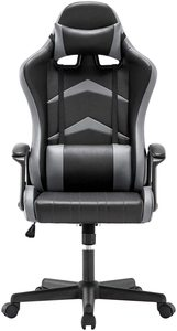 Gaming chair High Back Cushion Lumbar & Head Pillow, Height Adjustable 360 ° Rotatable and Armrest Fixed