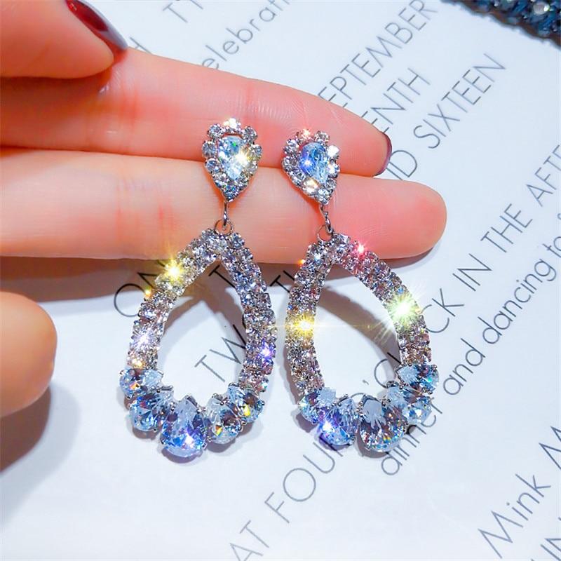 Modyle Luxury Shining Crystal Drop Earrings Gold Silver Color Rhinestone Dangle Earrings for Women Wedding Party Jewelry