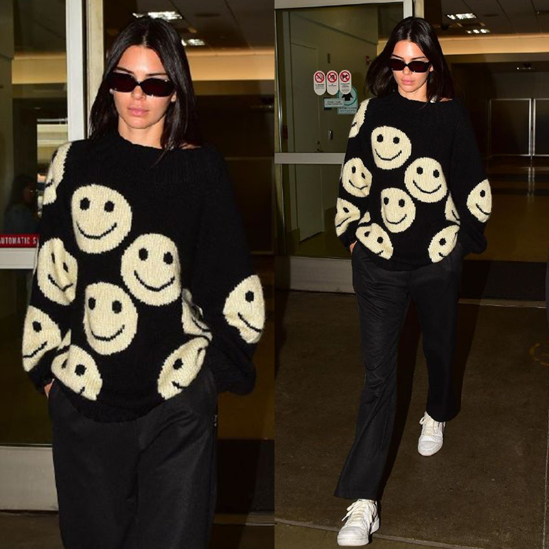 Kendall Jenner Style Female Fashion Smile Face Sweater Winter Casual Streetwear Tops Loose Pullover Knit Sweaters Clothes