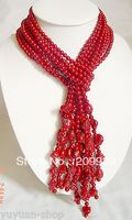 huij 0065 3S 50L'' Tibet Style Small Red Coral Beads Necklace/Sash discount 40%