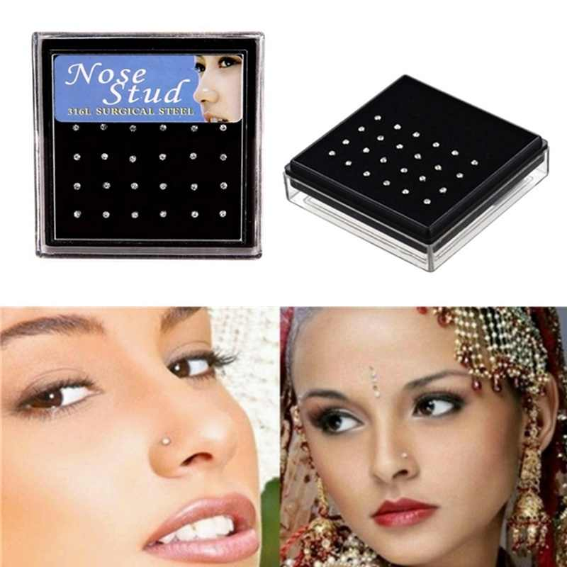 24pcs/set Crystal Nose Ring Studs Stainless Surgical Steel Nose Piercing Colorful Rhinestone Fashion Body Women Girl Jewelry