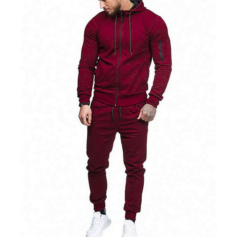Fashion Men Drawstring Sportwear Set Fashion Solid Sweatshirt&Pants Tracksuit Casual Zipper Hoodies Outwear Clothes 2019