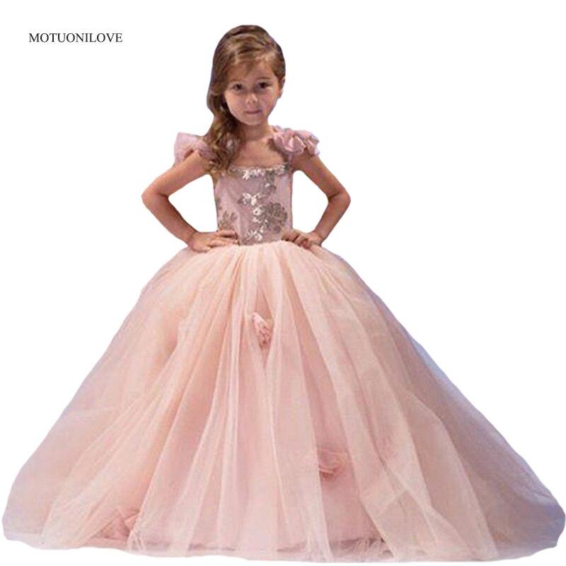 Bretelles de fleurs robe de bal rose fleur filles robes pour mariages enfants enfant en bas âge robe de reconstitution historique robes de première Communion robe d'anniversaire