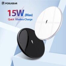 Posugear 15W 무선 충전기 아이폰 11 프로 맥스 X XS XR 무선 충전 패드 매트 삼성 갤럭시 S20 Xiaomi 타입 c 케이블