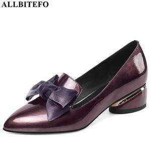 Image 2 - Allbitefo borboleta nó couro genuíno nova moda de salto alto casual menina alta sapatos de salto grosso venda quente sapatos plataforma feminina