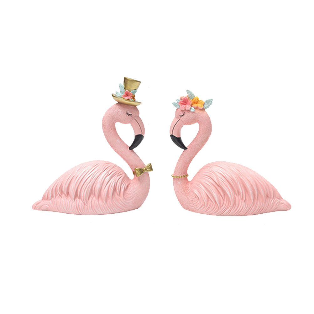 2pcs Home Decor Resin Craft Flamingo Car Ornament Flamingo Cake Ornament Decorative Flamingo (1pcs Prince, 1pcs Princess)