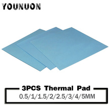 цена на 3Pcs YOUNUON 100x100mm 0.5mm 1mm 1.5mm 2mm 3mm 4mm 5mm tichkess Thermal Pad CPU Heatsink Pad Cooling Conductive Silicone Thermal