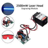 450nm 2500mW Alto Poder de Foco Laser Azul Módulo TTL 12V DIY Acessórios Gravador Do CNC De Corte A Laser 2.5W + óculos de proteção