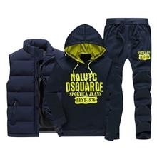 冬の新メンズカジュアルスウェットフリース暖かいトラックスーツメンズスポーツウェアのベストパーカー + パンツ 3PC セット男性 sweatsuits 印刷