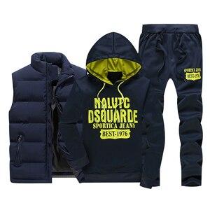 Image 1 - Inverno dei Nuovi Uomini di Set casual Felpe In Pile Caldo degli uomini Tuta Abbigliamento Sportivo Maglia Felpe + Pants 3PC Set Maschio tute di Stampa
