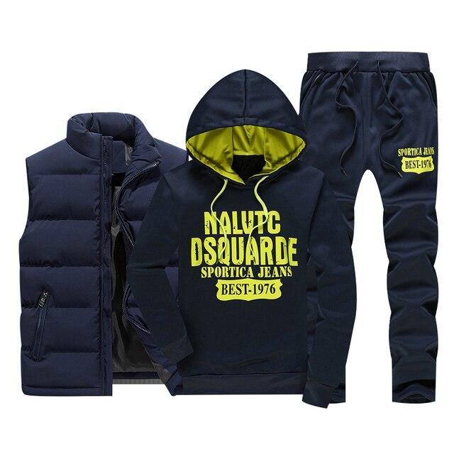 Inverno dei Nuovi Uomini di Set casual Felpe In Pile Caldo degli uomini Tuta Abbigliamento Sportivo Maglia Felpe + Pants 3PC Set Maschio tute di Stampa