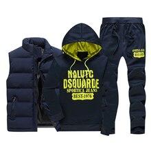ฤดูหนาวใหม่ผู้ชายชุดลำลองเสื้อขนแกะอบอุ่น Tracksuit ผู้ชายกีฬาเสื้อกั๊ก Hoodies + กางเกง 3PC ชุดชาย sweatsuits พิมพ์