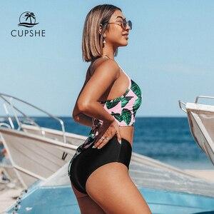 Image 2 - Cupshe Kruidenthee Bladeren Hoge Taille Bikini Sets Zomer Sexy Lace Up Tank Badpak 2020 Dames Strand Badpak badmode