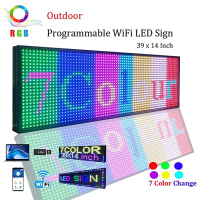 WiFi LED Sign,LED Programmable Electronic P13 RGB COLOR OUTDOOR Sign LED Display 39 X 14 Open Running Message Board