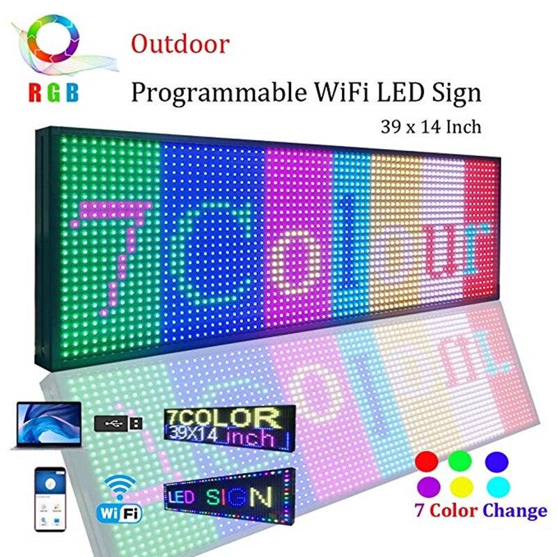 WiFi светодиодный знак, светодиодный программируемый электронный P13 RGB цветной наружный знак светодиодный дисплей 39 X 14 открытая бегущая доска для сообщений