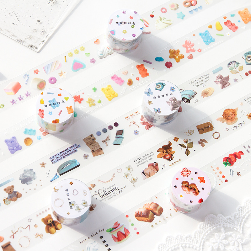 Vintage Old Object Bullet Journal Handmade Decorative Pet Washi Tape Transparent Label Stickers Adhesive Tape Decor DIY Planner