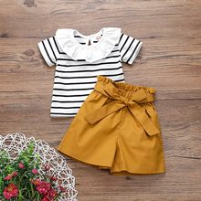 2020 Summer Baby Girl Clothes Short Sleeve Stripes Floral Ruffle T-shirt Tops+bow Shorts Set Kids Clothes Vetement Bebe Fille(China)