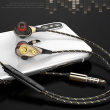 Fashion Dual Unit Wired Ear Stereo Headphone Bass Subwoofer for Phone Sport Headset with Speaker Wire-controlled Earphone anti skid in ear music headphone nylon wired earphone with braided wiring cord cable wire control subwoofer headset with wheat
