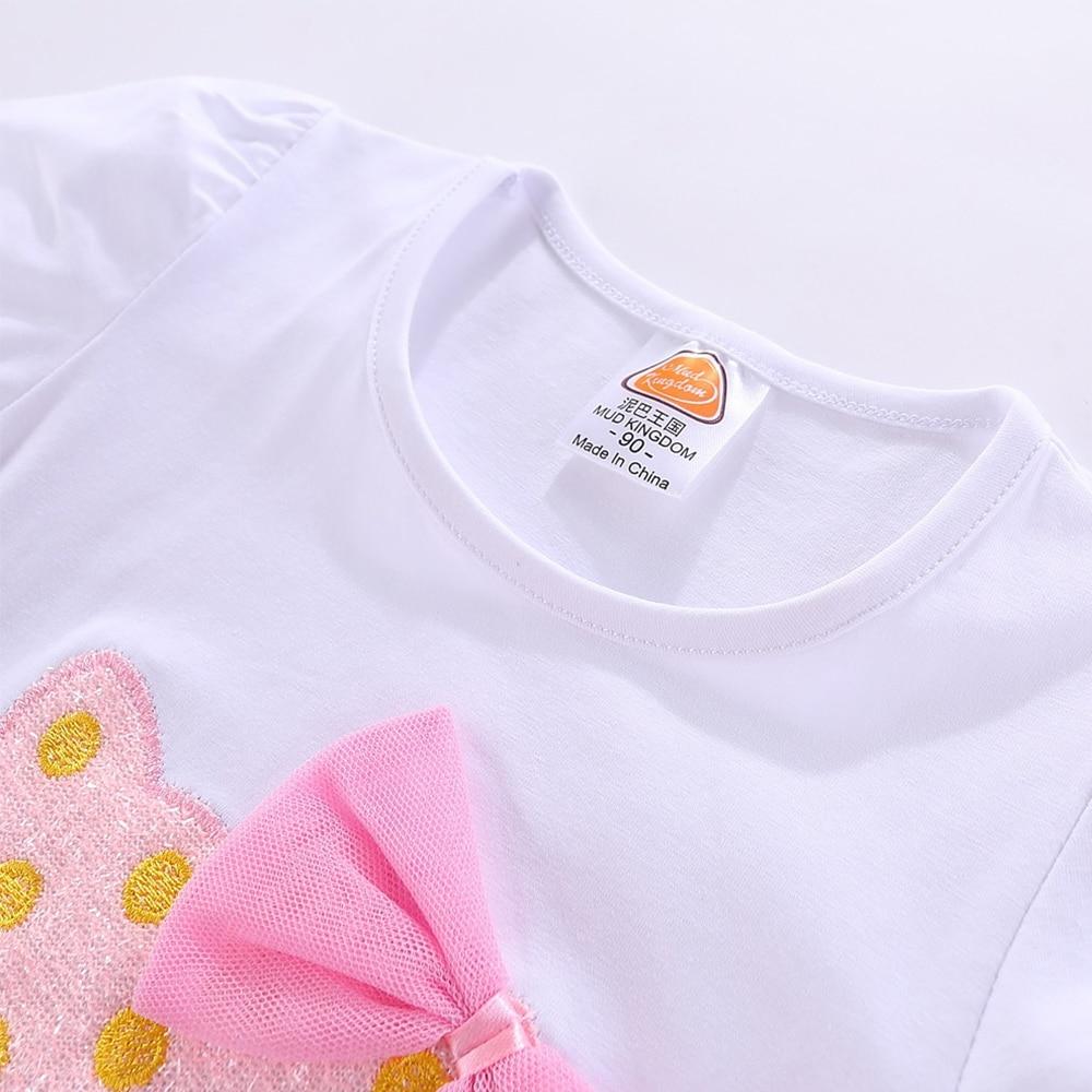 Mudkingdom Girls Outfits Cartoon Cat Short Sleeve Tops Princess Skirt Clothes Set Summer 6