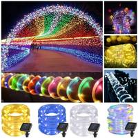 12M 100LED LED Strip Tube Solar Garden Lights String Outdoor Copper Wire Fairy Lights Christmas Party Wedding Decoration Lamp