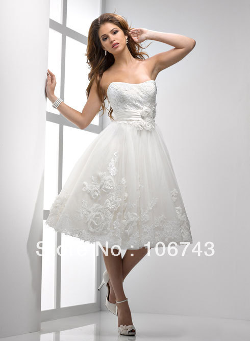 Free Shipping 2014 White/Ivory Short Party Custom Size Chiffon Handmade Flower Organza Tapetes De Quarto A-line Wedding Dress
