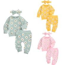 3 Цвета на возраст от 0 до 24 месяцев малыш новорожденный младенец для маленьких девочек осенняя одежда комплект с длинным рукавом с принтом м...