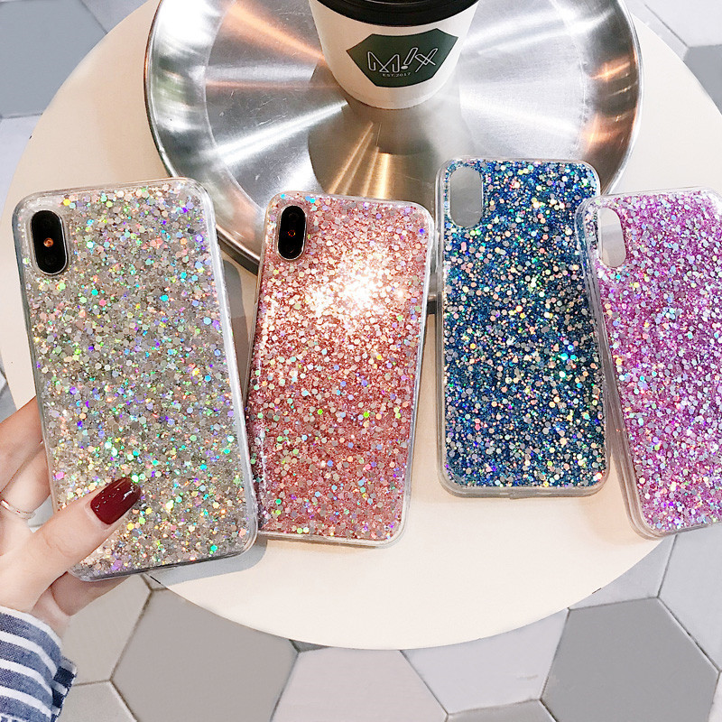 Glitter Bling Sequins Case For <font><b>Xiaomi</b></font> Mi 9 8 A1 A2 Lite 5X 6X Case Shine Cover for <font><b>Redmi</b></font> 7 <font><b>Note</b></font> 7 6 Pro <font><b>5</b></font> Plus 6A 4 4X S2 Cover image