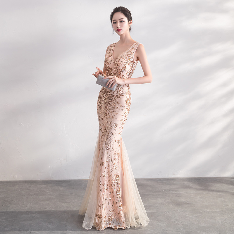 2019 Rushed Fishtail Skirt 2020 New Party Noble Elegant Long Temperament Celebrity Thin Sexy Deep V Evening Dress