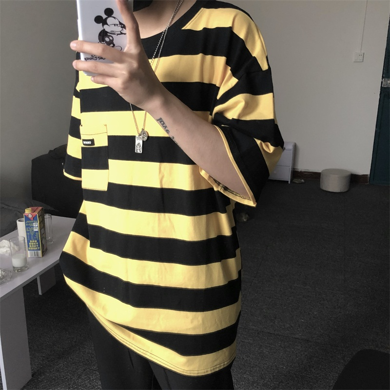 2019 Selling New Summer Striped Casual Man T-shirt Oversized Fashion Streetwear Funny Hip Hop Vintage Fashion Pocket Balck Top