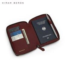 Кожаная обложка для паспорта hiram beron с бесплатным именем