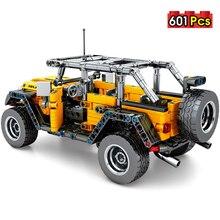 MMloveBB בורא מכאני למשוך בחזרה Jeeped Off road רכב דגם בניין בלוקים ing עיר טכני לבני מכונית צעצועי עבור ילד