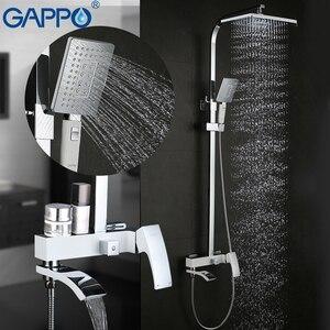Image 3 - GAPPO bagno doccia rubinetto set Doccia sistema di bianco doccia vasca da bagno rubinetti cascata in ottone cromato merci per vasca da bagno