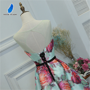 Image 5 - DEERVEADO Evening Dress Long Flower Print Formal Dress Elegant Woman Occasion Party Dresses Evening Gown Robe De Soiree M218