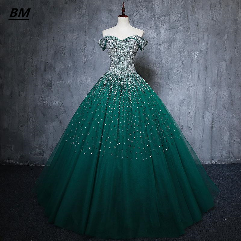 BM Quinceanera Dresses 2021 Ball Gown Tulle With Appliques Beads Sweet 16 Lace Up Prom Party Debutante Vestidos De 15 Anos BM344