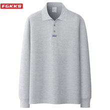 FGKKS Brand Men Fashion Polo Shirts Men's Casual Wild Polo Shirt Autumn New Solid Color Lapel Long Sleeves Polo Shirts Male