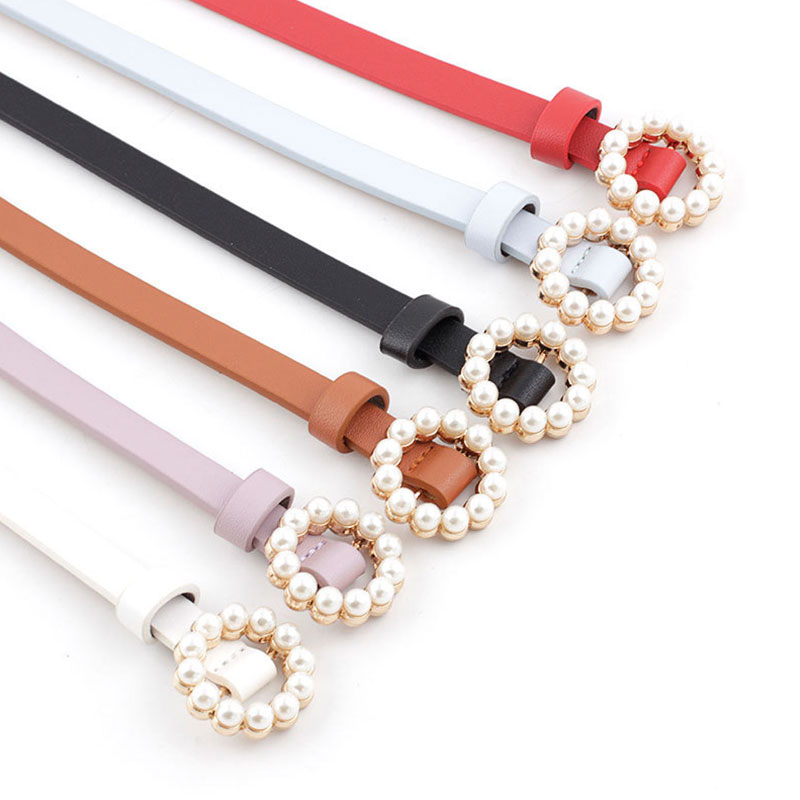 2019  Fashion Cute Ladies Pearl  Beading Belt Women Black White Red Brown Blue Thin Skinny Leather Waistband For Women Dress