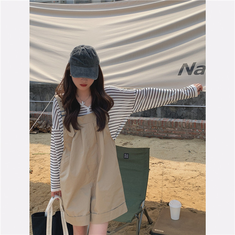 H213b8d514ef341718ab1213af5946086P - Summer Loose Fitting Wide Leg Solid Overall Shorts