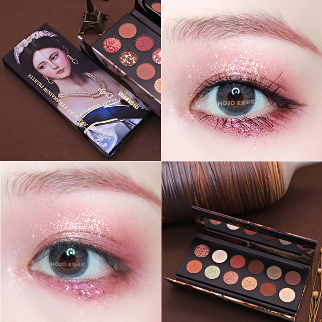 HOJO 12 Color Aristocratic Painting Eyeshadow Palette Shimmer Matte Pigmented Eye Shadow Powder Makeup Glitter Crystal Eyeshadow 4