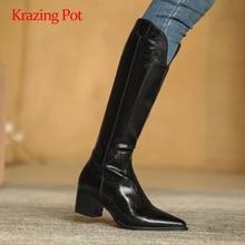 Winter Shoes Gladiator-Split Brand Boots High-Heel Knee-High Krazing Pot Streetwear Zip