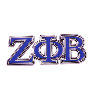 Королевский синий и серебряный Zeta Phi бета Подпись отворот булавка с греческими буквами